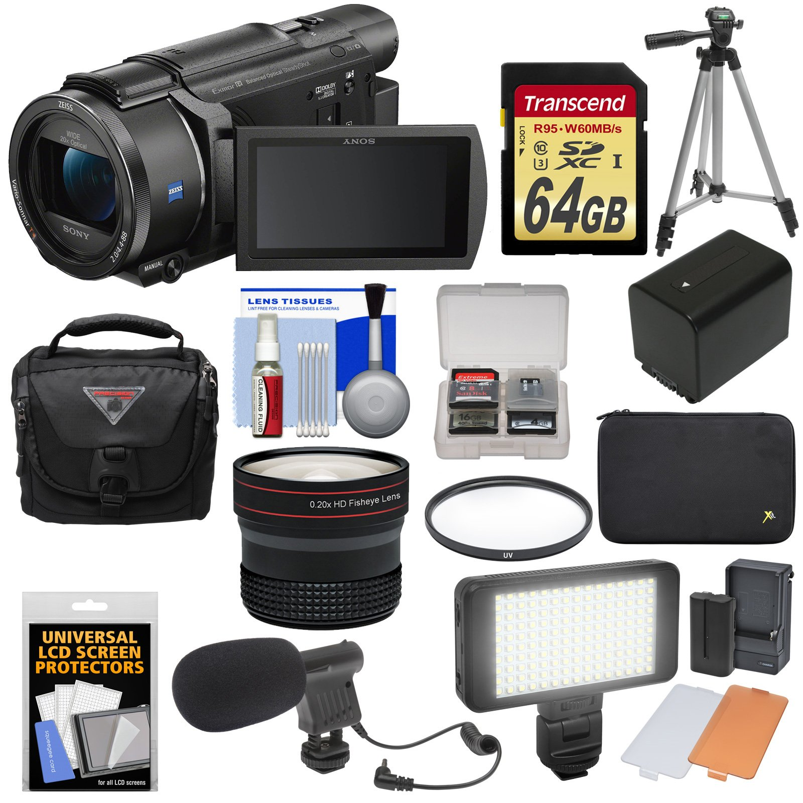 Sony Handycam FDR-AX53 Wi-Fi 4K Ultra HD Video Camera Camcorder with 64GB Card + Battery + Case + Tripod + LED Light + Microphone + Fisheye Lens + Kit by Sony