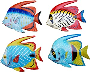 "All Seas Imports Multi-Color 6.5"" x 5.5"" Exotic Set of (4) Decorative Wall Decor Fish"