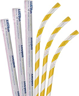 product image for Biodegradable Eco Friendly Paper Straws, Compostable Yellow Striped Jumbo Eco-Flex Paper Wrapped 7.75 Inch, Box of 3200 Straws