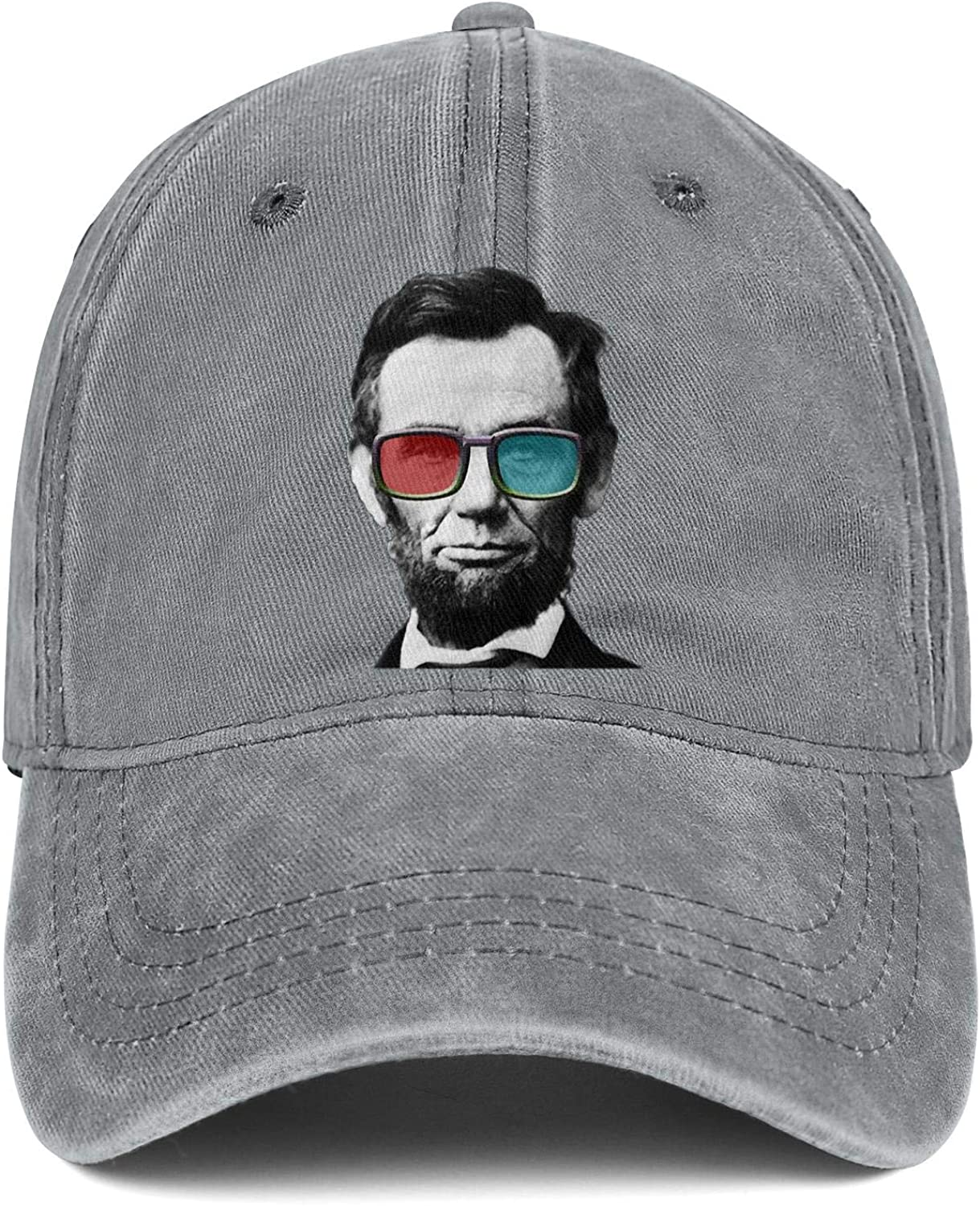 Abraham Lincoln Posters Glasses Unisex Baseball Cap Two-Tone Stretch Sport Baseball Hats Adjustable Trucker Caps Dad-Hat