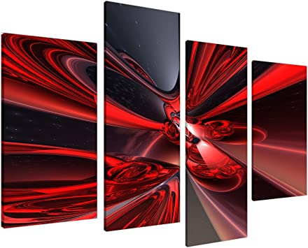ABSTRACT CANVAS ART PRINT RED WALL PICTURE HANGING A1+