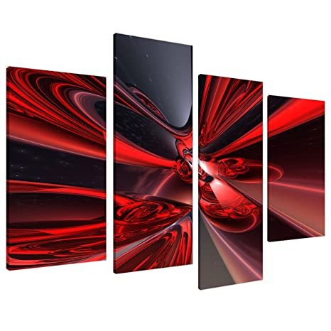 Large Red Black Abstract Canvas Wall Art Pictures Modern Split Set Of 4 Prints Big Contemporary Multi Panel Xl 130cm Wide