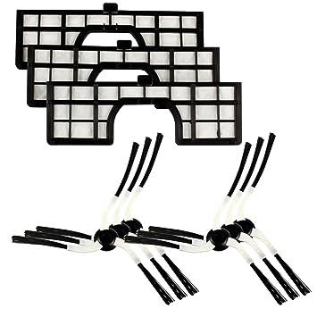 Menalux MRK 02 MRK02-6 cepillos Laterales y 3 filtros compatibles con el Robot Samsung Navibot, Negro: Amazon.es: Hogar