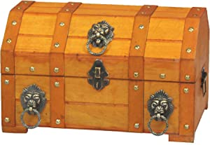Vintiquewise(TM) Pirate Treasure Chest/Box with Lion Rings