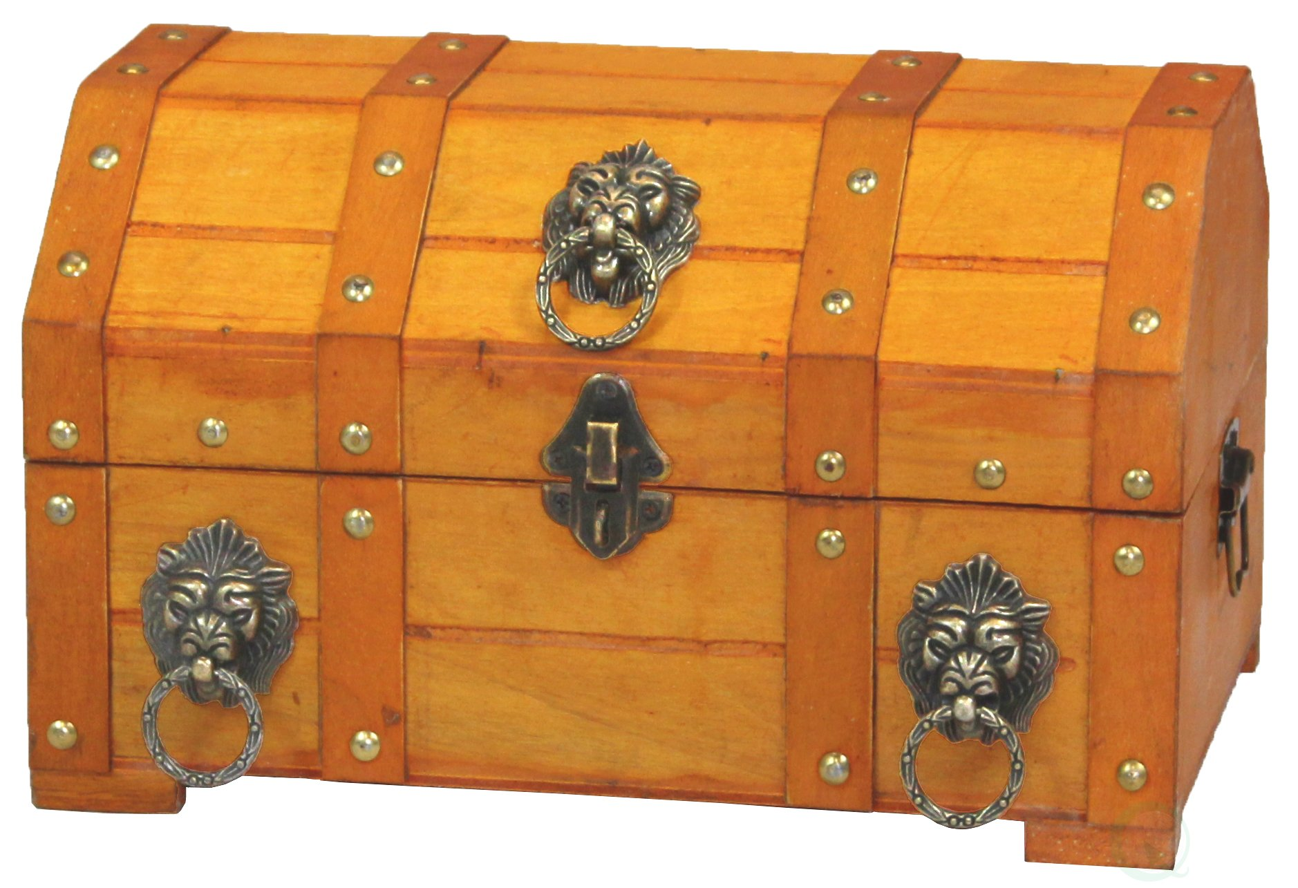 Vintiquewise TM Pirate Treasure Chest/Box with Lion Rings
