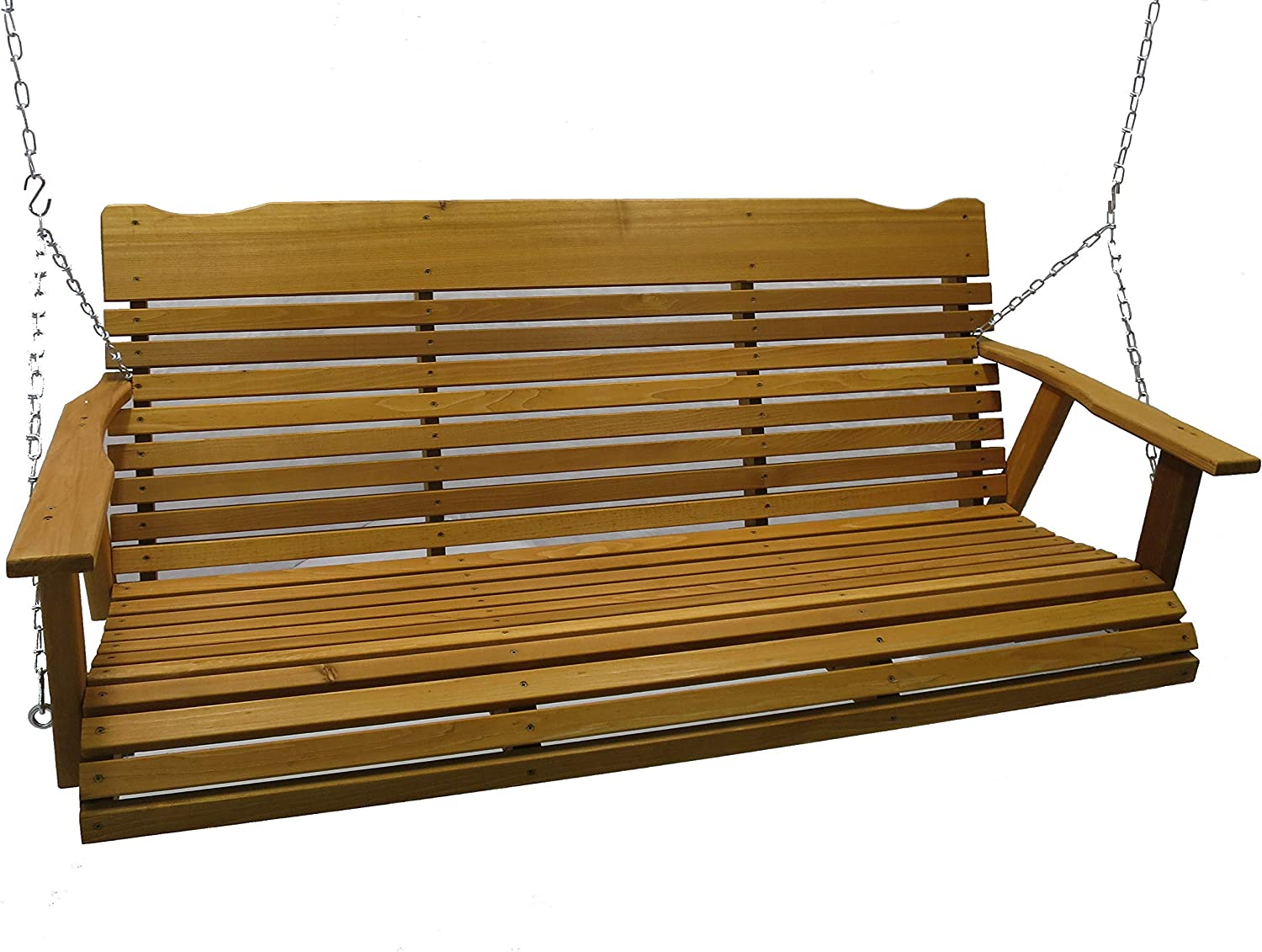 Kilmer Creek 5 Foot Cedar Porch Swing, Stained Finish, Amish Crafted, Includes Chain Springs