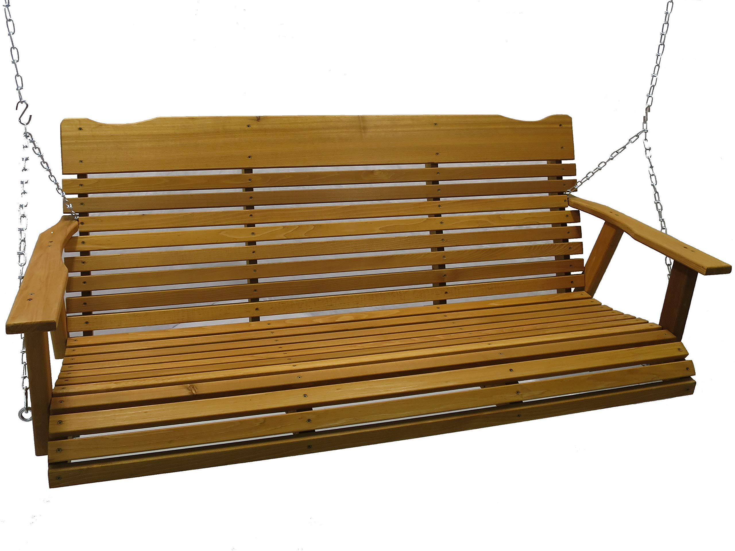 Kilmer Creek 5' Cedar Porch Swing W/stained Finish, Amish Crafted - Includes Chain & Springs