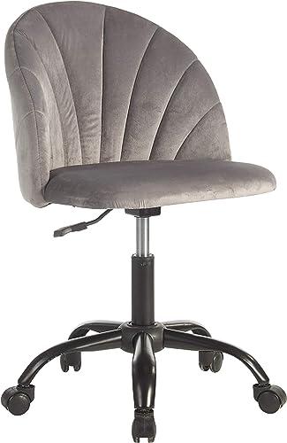 Urban Shop Shell Back Velvet Rolling Desk Chair