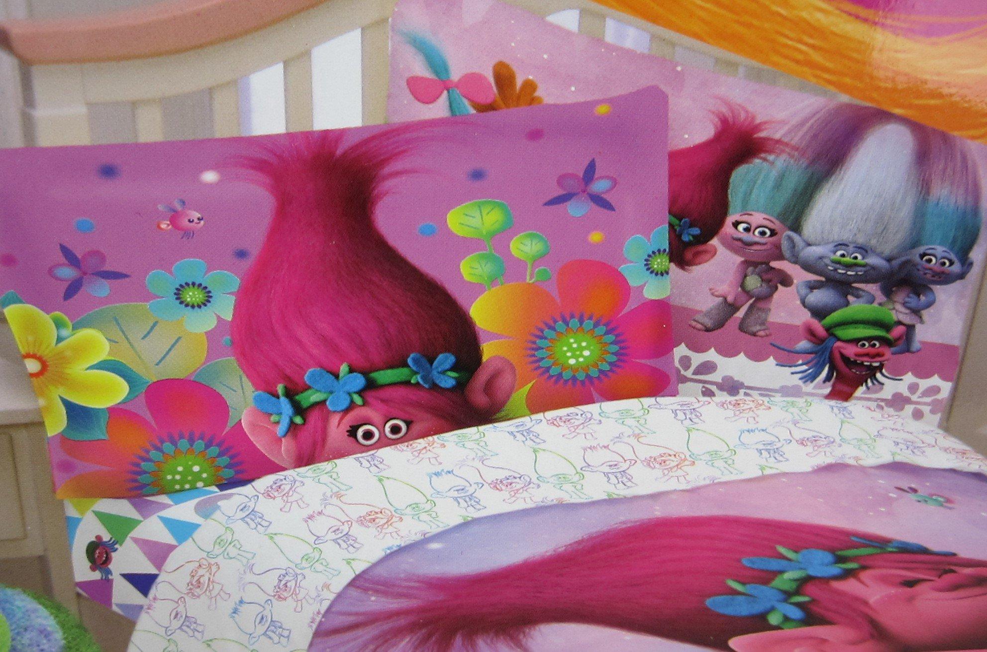 Trolls True Colors 100% Microfiber (FLAT SHEET ONLY) Size TWIN Boys Girls Kids Bedding