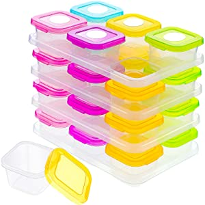 Rozer 24 Pieces Baby Food Blocks Containers Baby Food Storage Freezer Containers 4 oz Plastic Food Containers with Lids Leakproof Baby Snack Jars and White Sticker Label for Infant Babies