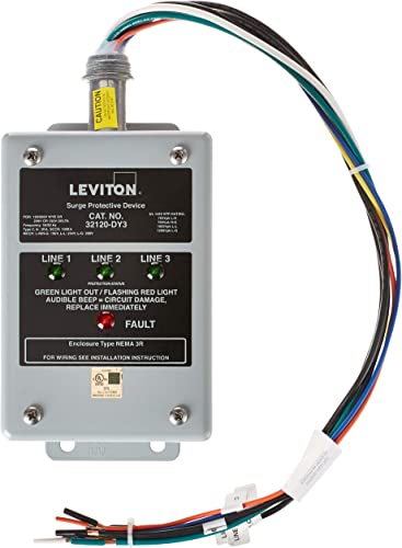 Leviton 32120-DY3 120 208 Volt 3-Phase Wye Or Delta, Surge Panel, DHC and X10 Compatible, 80Ka L-N Max Surge Current