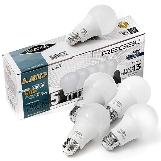 Regal - Bombilla LED A19 (5000 K, 800 lúmenes, 9 W ...