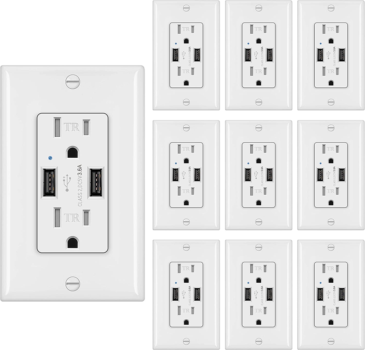 [10 Pack] BESTTEN 3.6A Dual USB Wall Outlet, 15A/125V/1875W, Tamper Resistant Receptacle, Ideal to Charge Smartphone, Tablet and Other USB Device, UL Listed, White