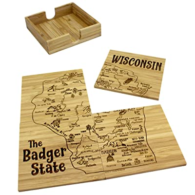 Totally Bamboo 4 Piece Wisconsin State Puzzle Coaster Set with Case: Toys & Games