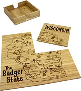 Totally Bamboo 4 Piece Wisconsin State Puzzle Coaster Set with Case