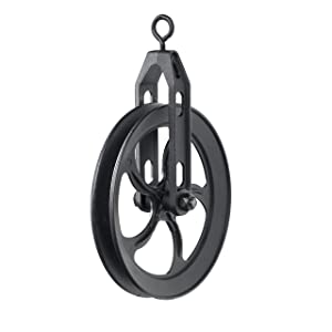 Rustic State Vintage Rustic Industrial Look Medium Wheel Farm Pulley for Custom Make Wall Pendant Lamps Frosty Black