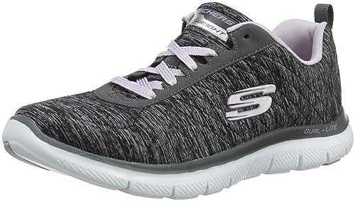 Skechers Memory Foam Flex Appeal Black Light Grey Style