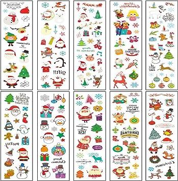 Tatuaje de Navidad Tatuajes Temporales para Niños Santa Claus ...