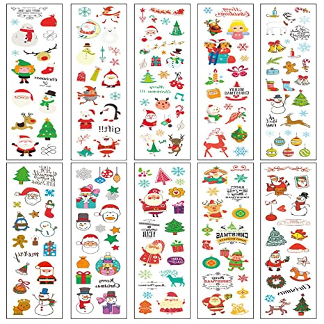 Tatuaje de Navidad Tatuajes Temporales para Niños Santa Claus Tatuajes Falsos Tatuajes Pegatinas para Infantiles Regalo para Fiesta de Cumpleaños