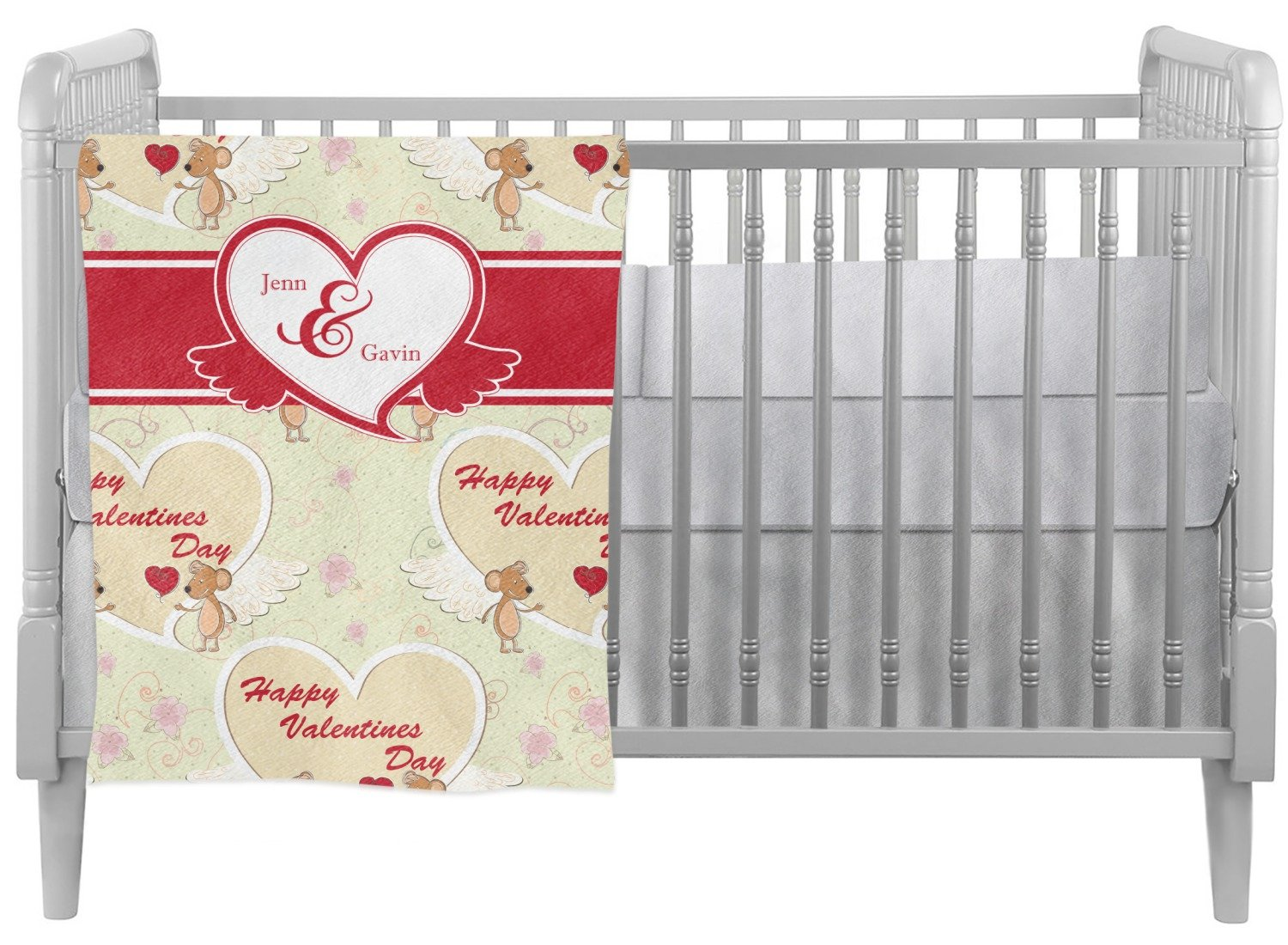 Mouse Love Crib Comforter / Quilt (Personalized)