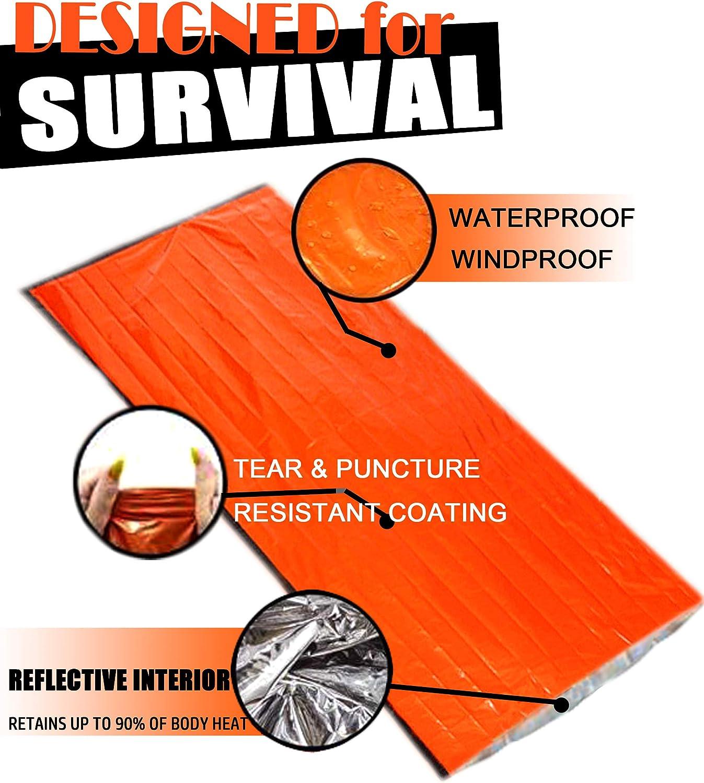 EASTERUP Emergency Sleeping Bag Ultralight Waterproof Thermal Emergency Bivy Sack Survival Use as Mylar Emergency Blanket with Survival Whistle Compact Survival Gear