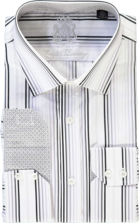English Laundry White Black Gray Stripes Dress Shirt