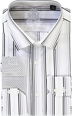 5c9893a23a English Laundry White Black Gray Stripes Dress Shirt at Amazon Men's ...