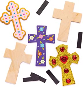 Baker Ross Easter Cross Wooden Magnets, Easter Crafts for Kids to Decorate, Personalise and Display (Pack of 10)