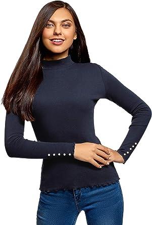 oodji Ultra Mujer Suéter Básico de Cuello Alto de Algodón: Amazon.es: Ropa y accesorios