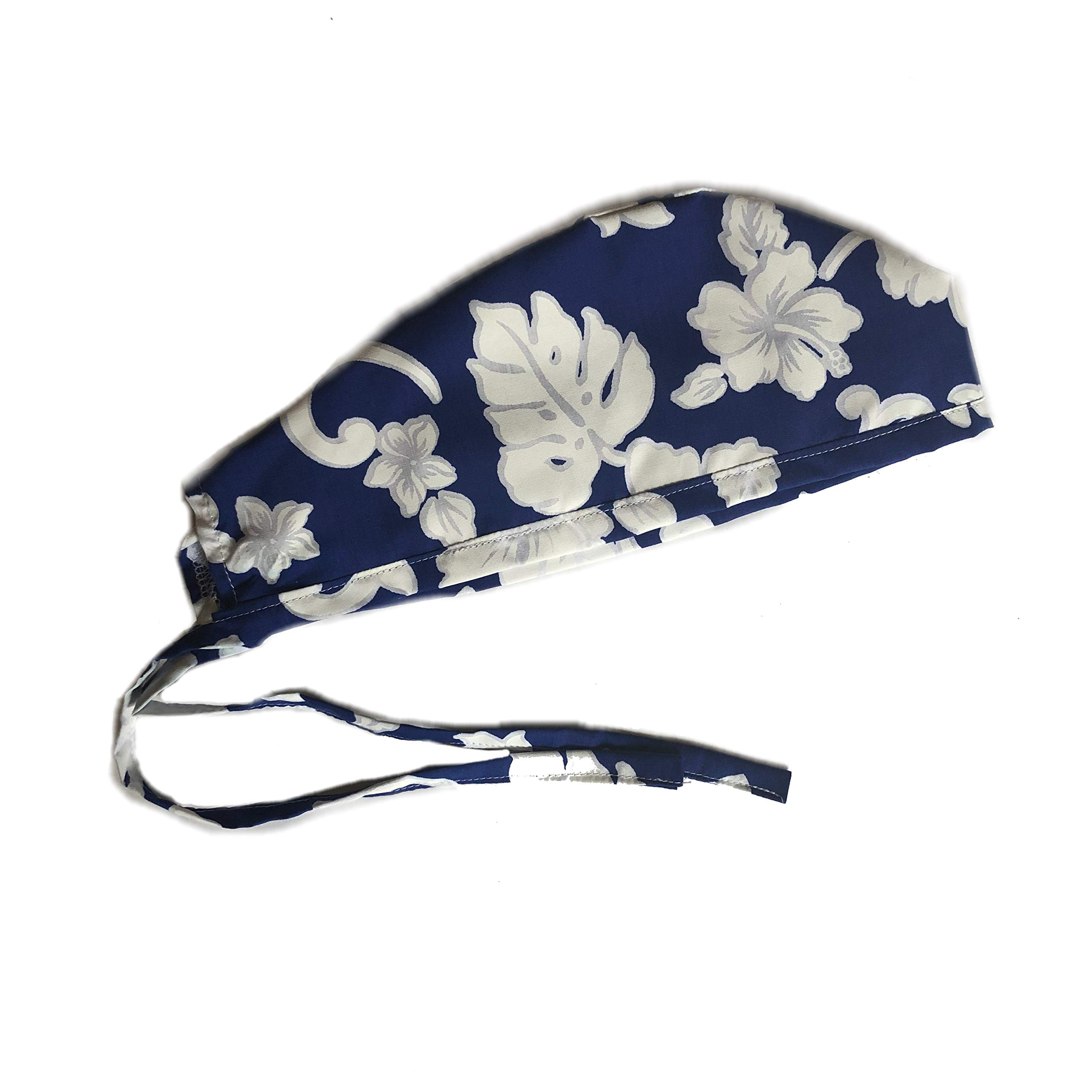 Unisex Mens Tie Back Scrub Cap Surgical Cap Navy White Flowers by Grace N May