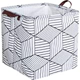 HIYAGON Square Storage Bins,Storage Baskets,Canvas Fabric Storage Boxes,Foldable Nursery Basket for Clothes,Books,Shelves Baskets,Gift Baskets,Home Organization,Room Decor(White Rhombus)