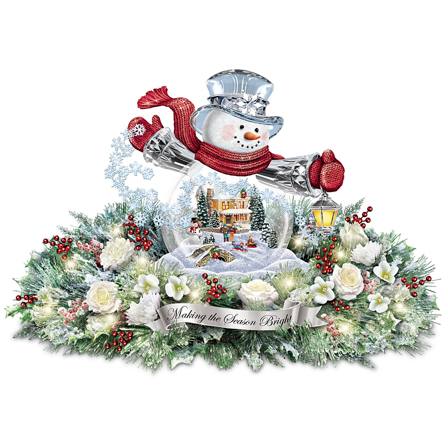 Thomas Kinkade Snowman Snow Globe Holiday Home Floral Centerpiece: Lights Up by The Bradford Exchange by Bradford Exchange
