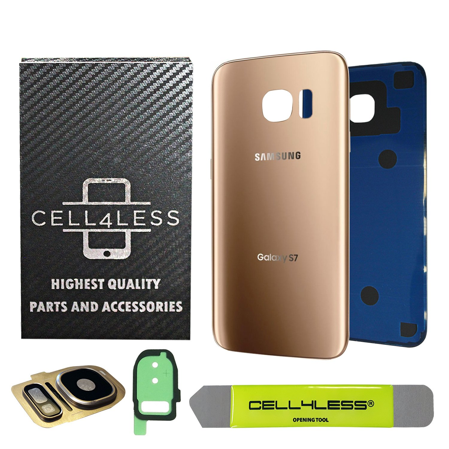 CELL4LESS Compatible Back Glass Cover Back Battery Door w/Custom Removal Tool & Installed Adhesive Replacement for Samsung Galaxy S7 - All Models G930-2 Logo - OEM Replacement (Gold) by Cell4Less