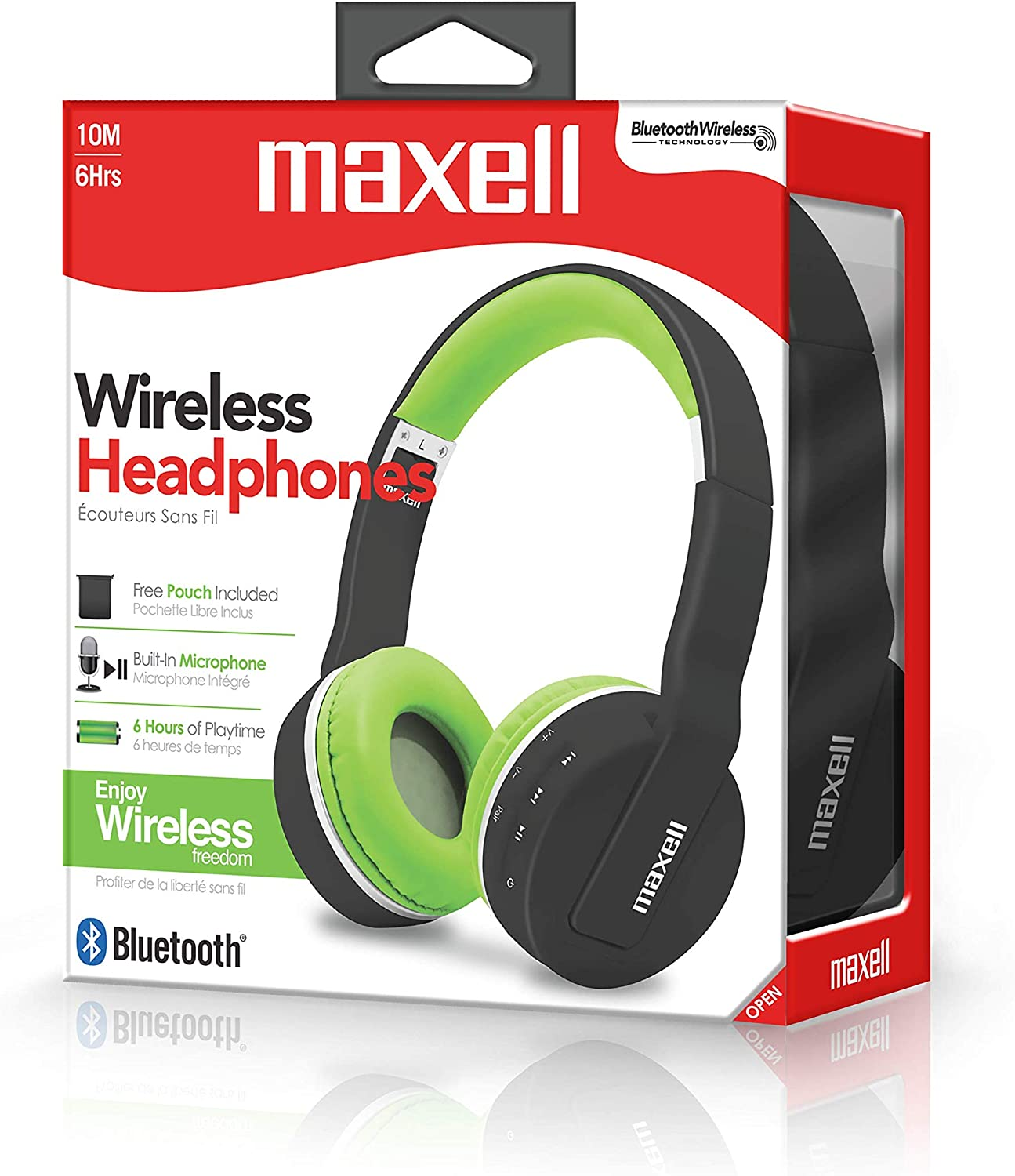 Maxell Foldable Wireless Bluetooth Soft Cushioned Headphones with Micro USB Charging Port Mic 6 Hour Charge Life – Black Green Headphone 199752