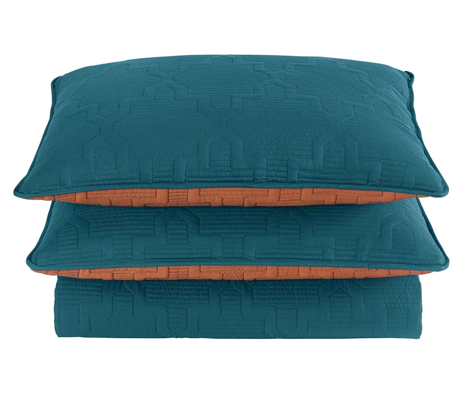 Brielle Casablanca, Reversible King Quilt Set, Spice/Teal