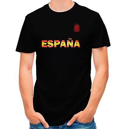 Lolapix Camiseta España Negra selección de fútbol Personalizada Nombre y Numero. Hombre