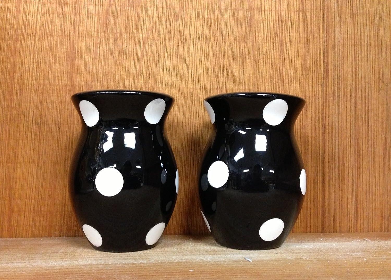 Black A.C.K Polka Dots Salt and Pepper Set Color 84228 Trading Co