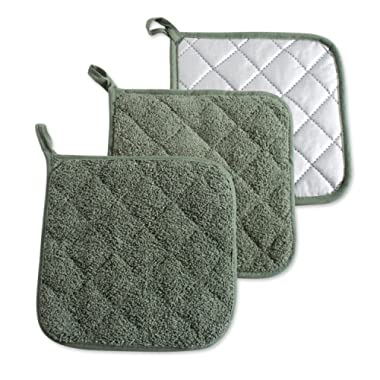 DII, Cotton Terry Pot Holders, Heat Resistant and Machine Washable, Set of 3, Artichoke Green