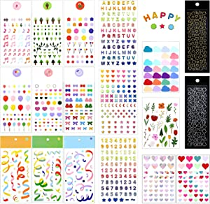 25 Sheets Colorful Number Letter Alphabet Number Ribbon Star Love Stickers Flower Deco Stickers Assorted Self Adhesive Confetti Stickers for Crafts Greeting Cards Scrapbooks Home DIY Decorations