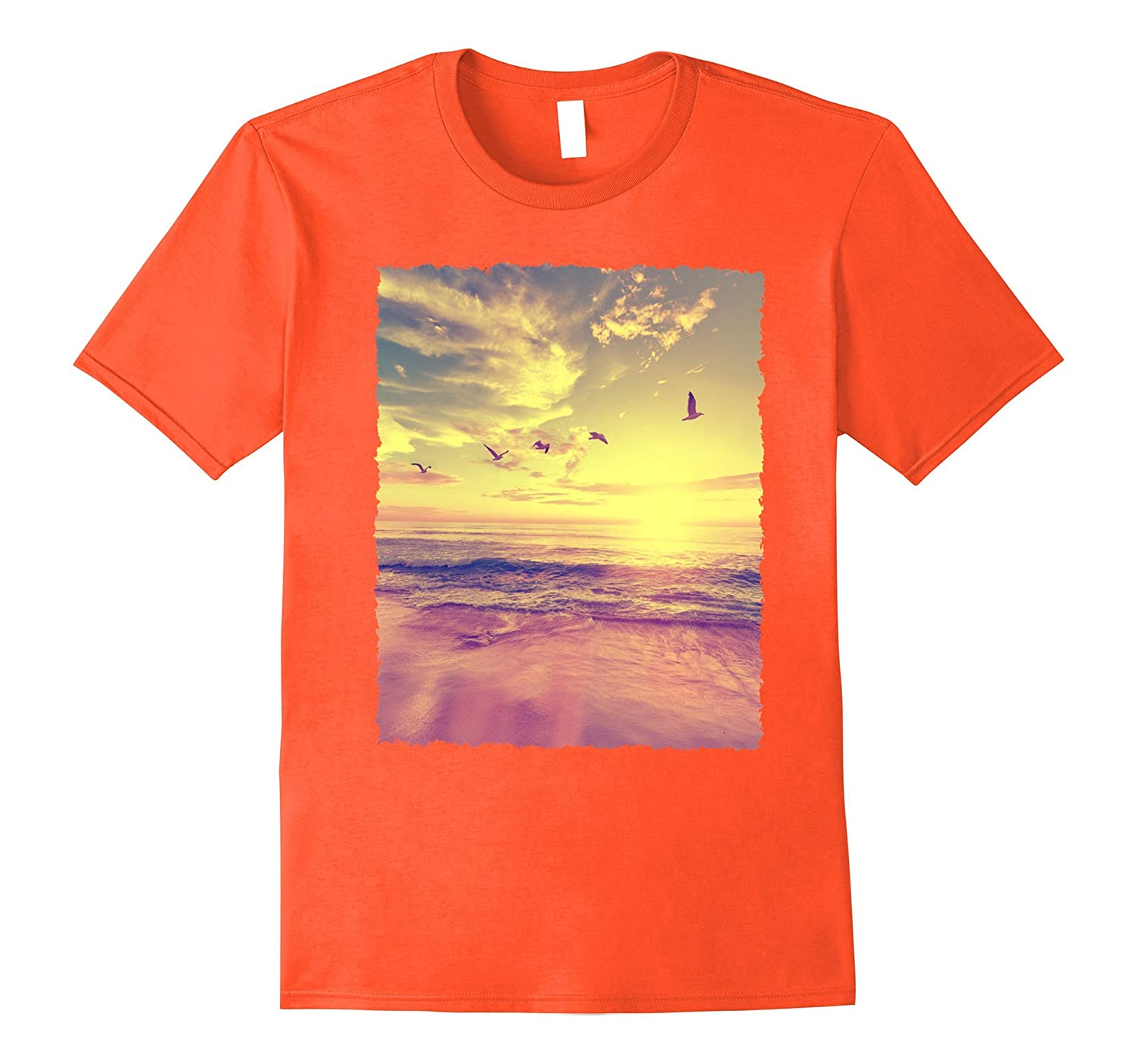 Beach Tee Mens  Ladies Summer Orange Graphic T-Shirt-Vaci