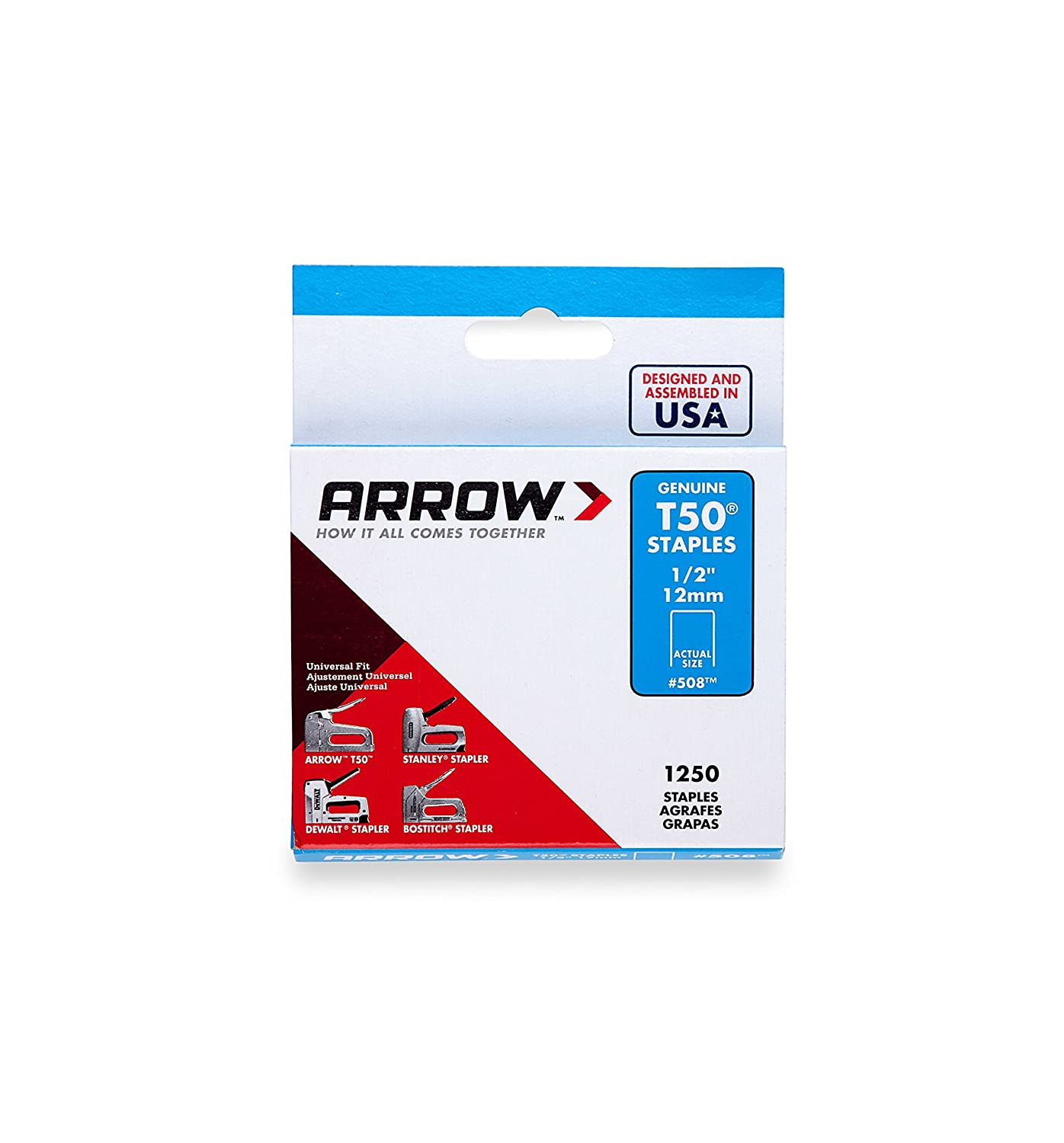arrow fastener 508 genuine t50 1 2 inch staples 1 250