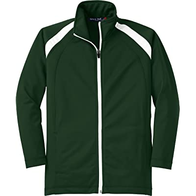 Sport-Tek Youth Tricot Track Jacket, Forest Green/White, Small
