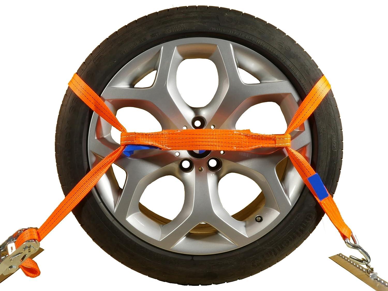 INDUSTRIE PLANET 8 x Spanngurte Autotransport 2000 daN 35 mm orange Reifengurt Zurrgurte Auto Transport Radsicherung PKW Radsicherungsgurt DIN EN 12195-2 2,9m