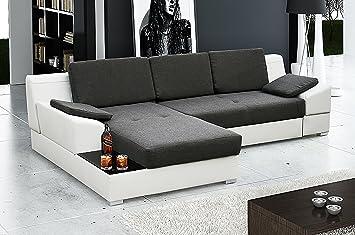 Ye Perfect Choice MARTIN Corner Sofa Bed Modern Design* Black And White,  Left Corner