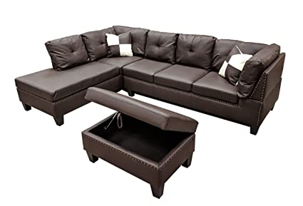 WINPEX 3 Piece Nail Head Faux Leather Sectional Sofa + Storage Ottoman Foot  Stool | Left