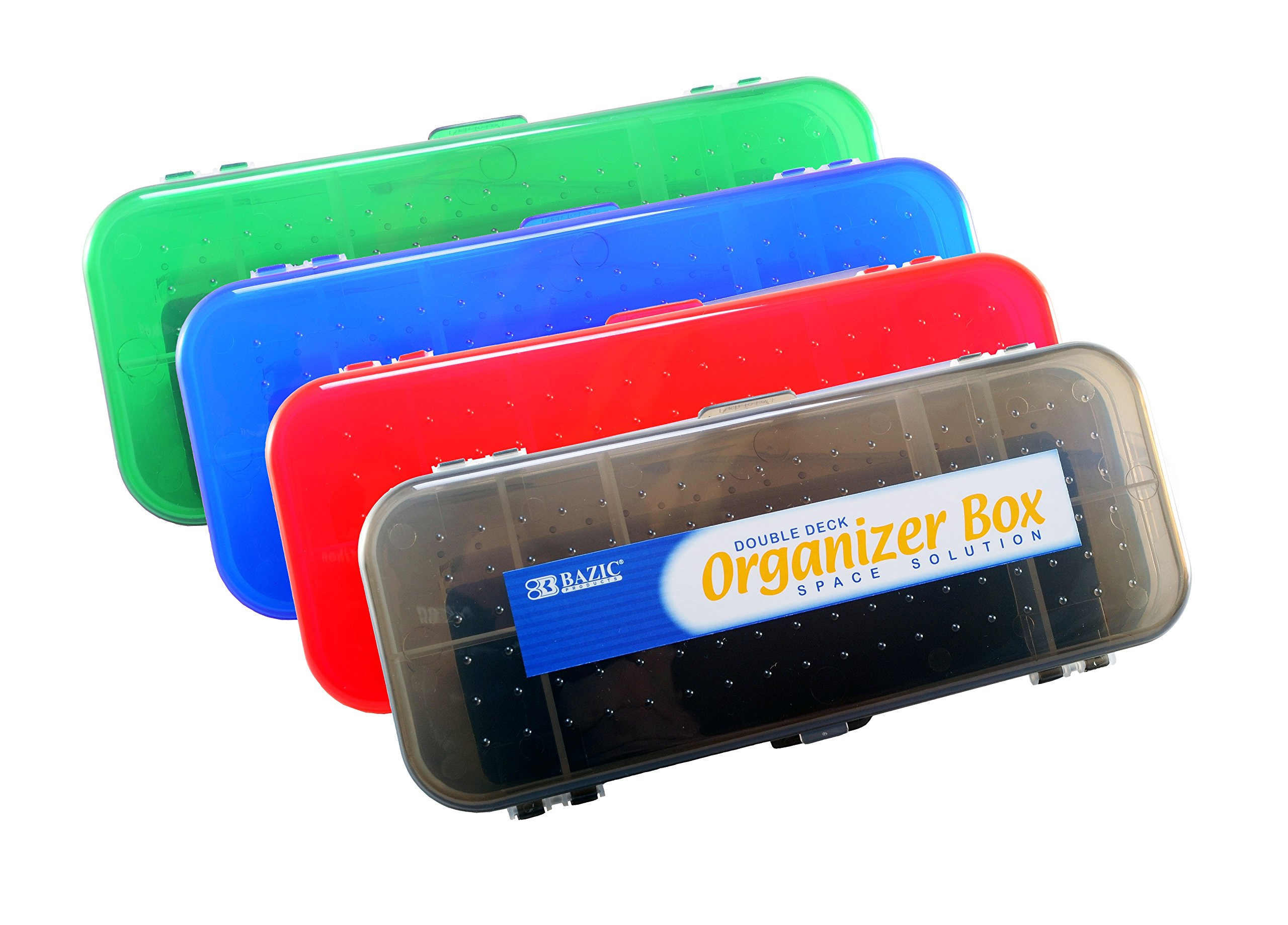 Double Deck Organizer Box, 8.25'' x 3.25'' x 1.5'', 2 Latched Sides - 7 Compartments (4-Pack, Black, Red, Blue, Green)
