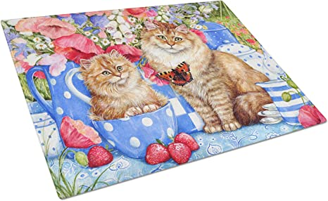 Tabby Cat and Blossoms Heat proof glass Cutting board