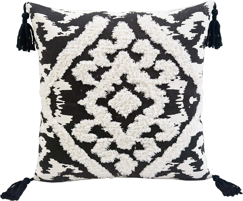 Lea Unlimited Corded Morocco Embroidered Decorative Throw Pillow Decorative Pillow Black Furniture Decor