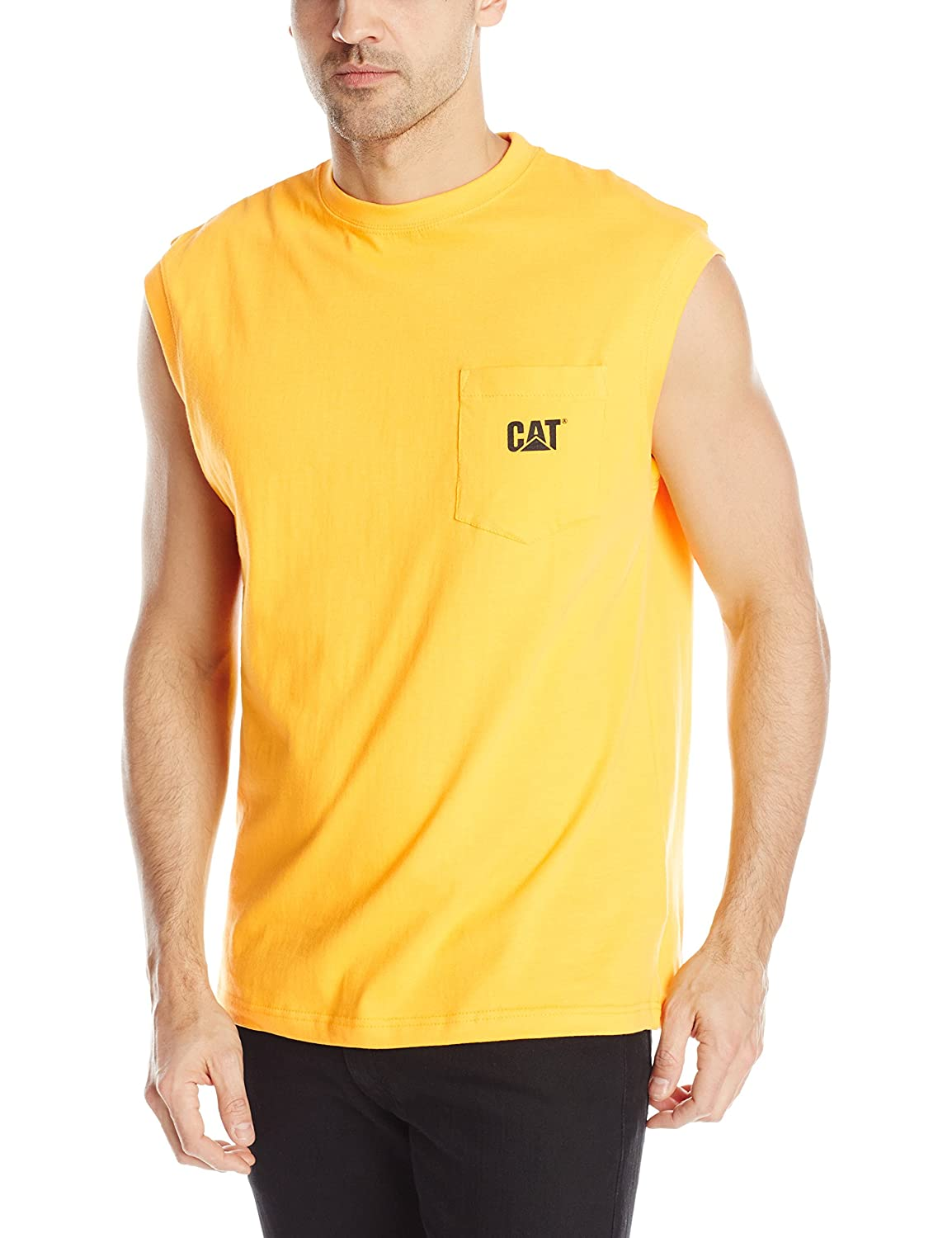 Amazon.com: Caterpillar Men's Trademark Sleeveless Pocket T-shirt ...