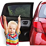 Car Window Shade (2 Pack) - Car Sun Shade Baby with UV Protection for Your Kids, Dog - Car Window Sun Cover Without Clings or Suction Cups - Fits Most Cars - 100% Money Back Guarantee